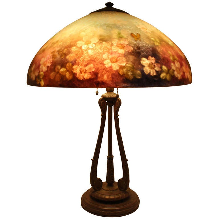 "Handel 6688 18"" Floral Table Lamp at 1stdibs"