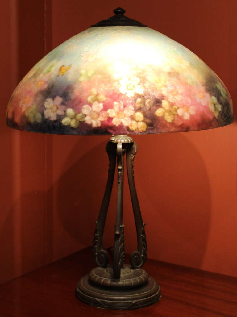 Handel 6688 18 Floral Table Lamp At 1stdibs