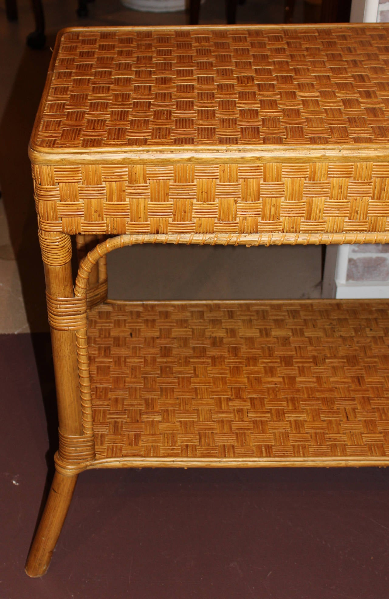 Wicker console or sofa table at 1stdibs wicker console or sofa table 3 geotapseo Images