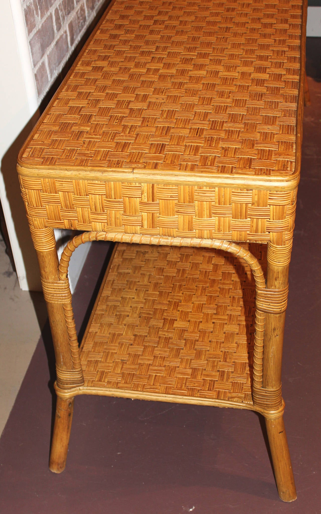 Wicker Console Or Sofa Table At 1stdibs