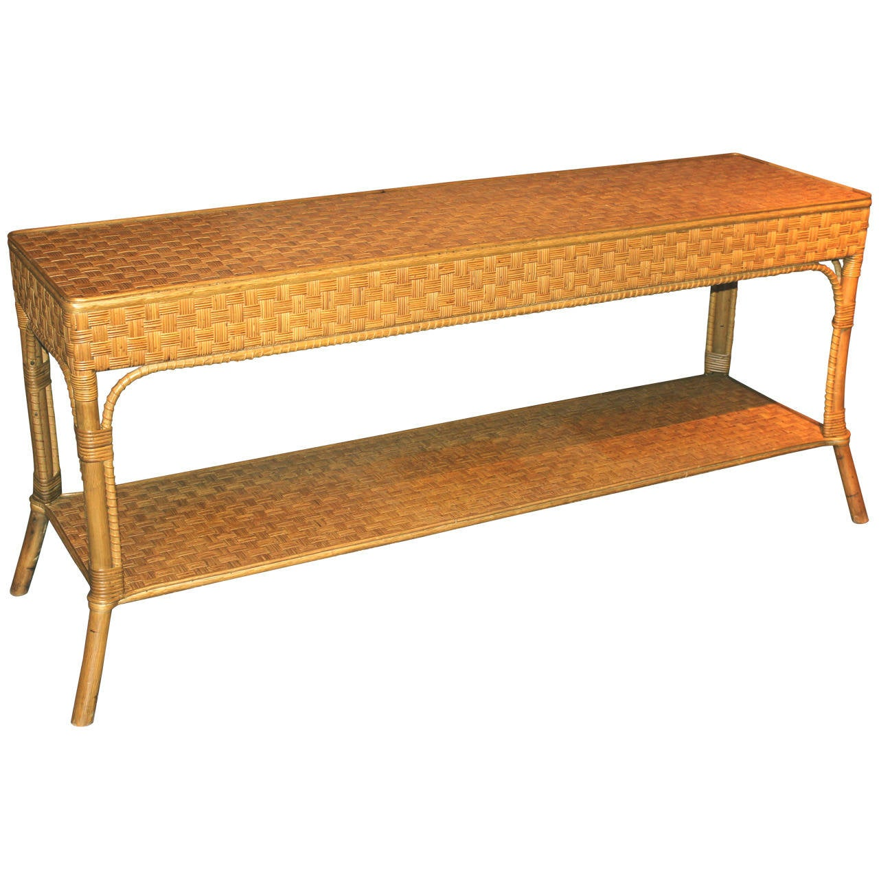Wicker console or sofa table at stdibs