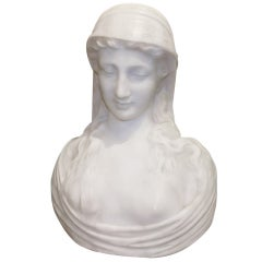 Signed 19th C. Marble Bust of Woman with Veil
