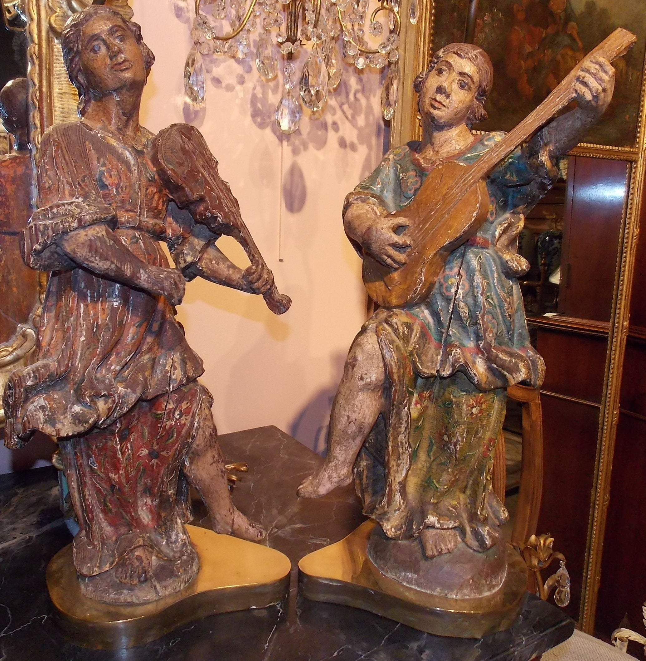 18th Century Pair of Santos Lamps