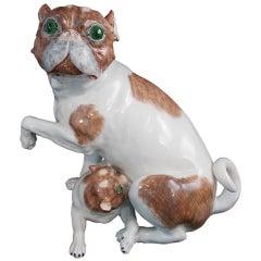 Carl Thieme Dresden Porcelain Mother & Pup Pug Dog Figurine 1901