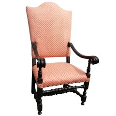 Italian Baroque Style Chair with Fortuny Fabric
