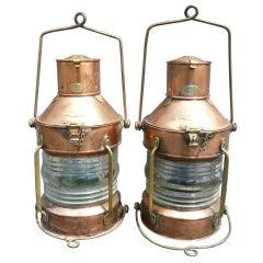 Pair of R.C. Murray Glasgow Ship's Anchor Lights or Lanterns