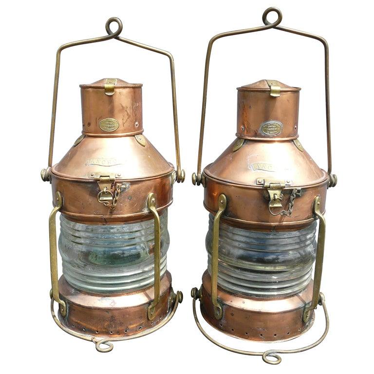 Ships Lantern Wall Lights : Pair of R.C. Murray Glasgow Ship s Anchor Lights or Lanterns at 1stdibs