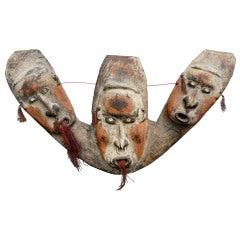 Oceanic Triple Mask Canoe Prow Shield