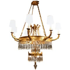 Swedish Gilt Bronze Chandelier
