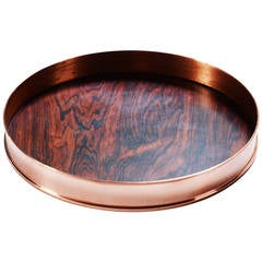 Copper and Rosewood Danish Tray