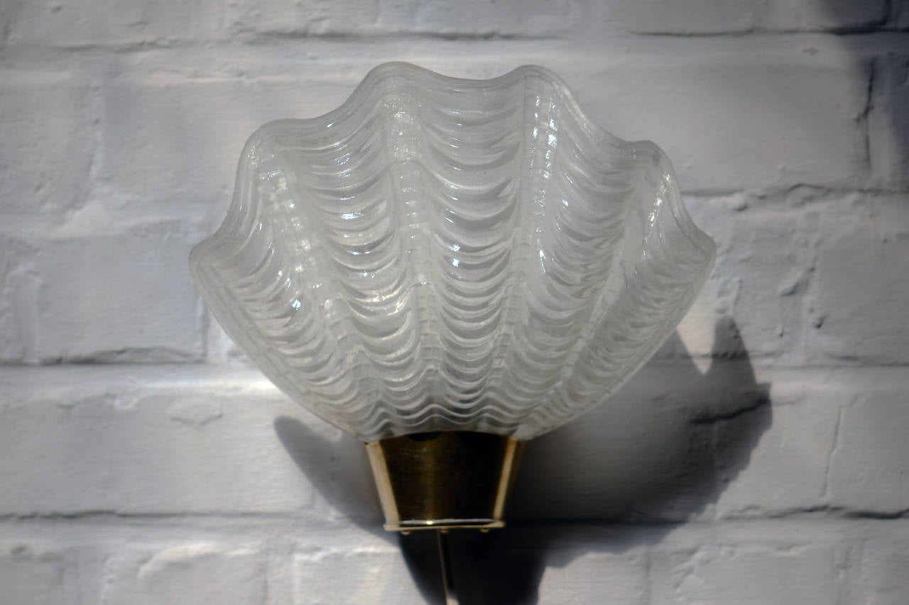 Brass Shell Wall Lights : Swedish Glass Shell and Brass Pair of Wall Lamps at 1stdibs