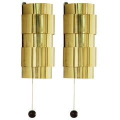 Hans-Agne Jakobsson Brass Two Wall Lamps Made by Markaryd, Sweden