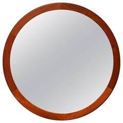 Aksel Kjersgaard Round Teak Mirror, Denmark, 1960s