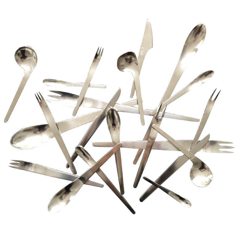 Arne jacobsen designed flatware for 24 made by a michelsen at 1stdibs - Arne jacobsen flatware ...