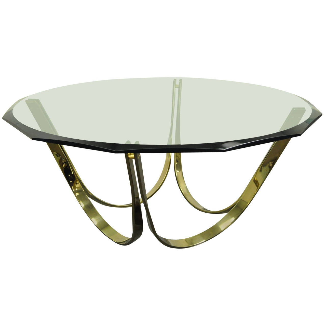 Trimark Brass Plated Steel U0026 Glass Coffee Table After Roger Sprunger For  Dunbar For Sale