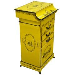 19th Century Italian Regency Tole Metal Flip Top Yellow Vanity Sink Drysink