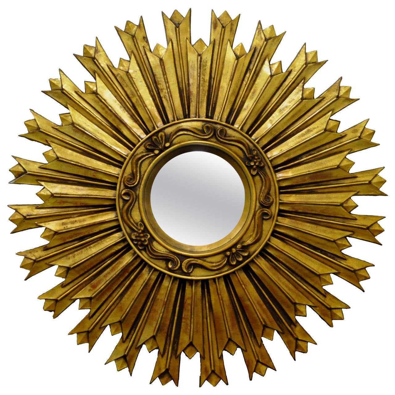 Vintage Italian Style Hollywood Regency, Gold Gilt Convex Sunburst ...