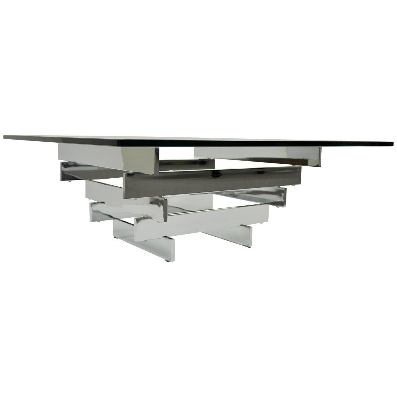 Chrome-Plated Steel Stacked Coffee Table By Paul Mayen For