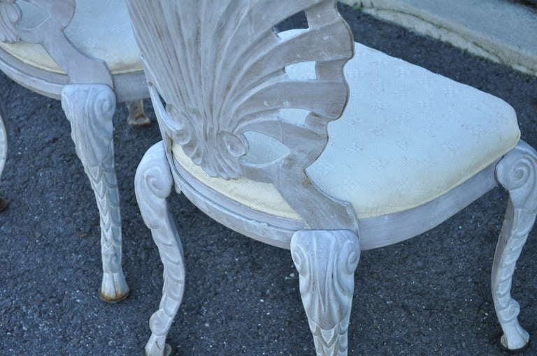Dorothy Draper Chairs ... Style Cast Iron Shell Grotto Patio Dining Chairs - Pulaski at 1stdibs
