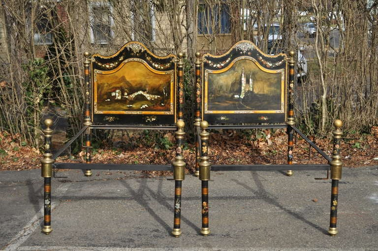 Pair Of 19th Century Hand Painted Mother Of Pearl Inlaid