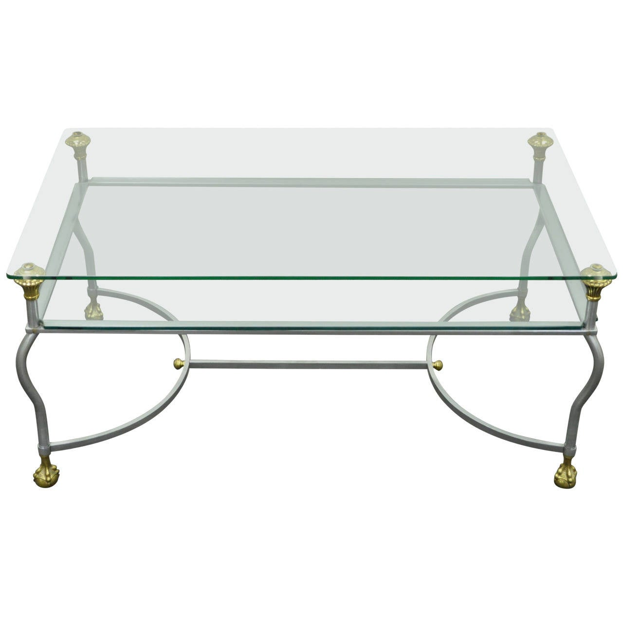 Rare Brass, Brushed Steel, and Glass Claw Foot Coffee Table after Maison Jansen