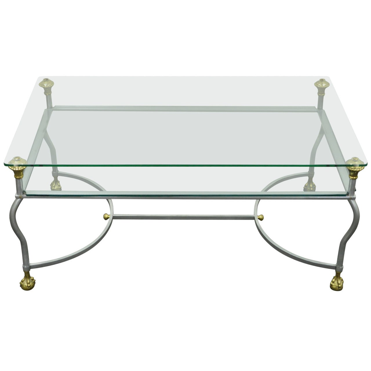 Maison Jansen Style Brass Brushed Steel & Glass Ball and Claw Foot Coffee Table