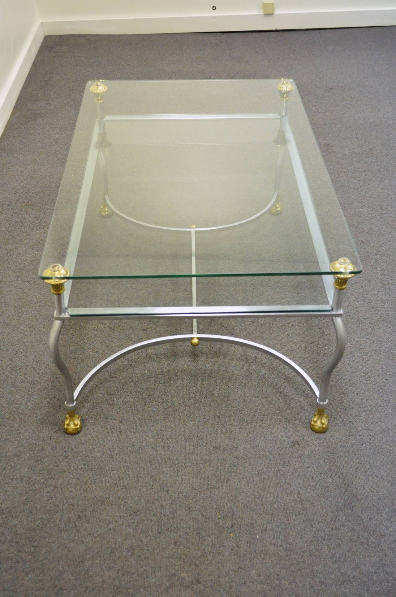 rare brass brushed steel and glass claw foot coffee table after maison jansen for sale at 1stdibs. Black Bedroom Furniture Sets. Home Design Ideas