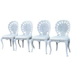4 Hollywood Regency Cast Iron Shell Grotto Patio Dining Chairs by Pulaski