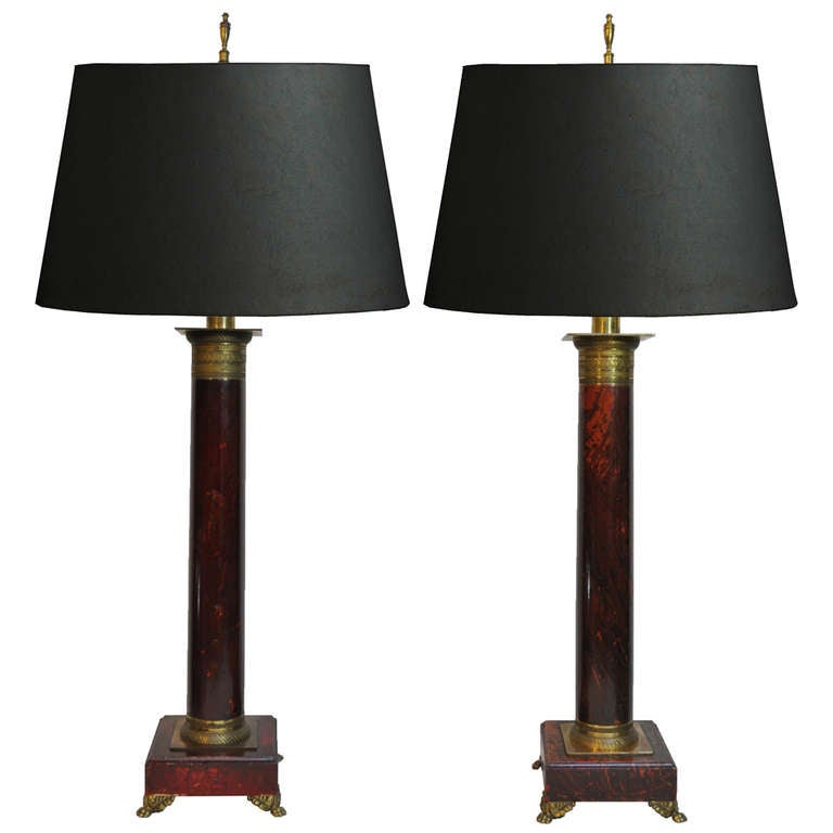 Pair of French Neoclassical Style Red Faux Marble Wood and Brass ...