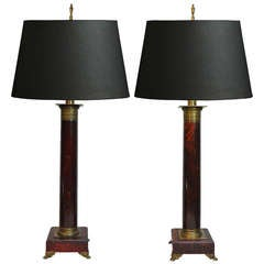 Pair of French Neoclassical Style Red Faux Marble Wood & Brass Column Form Lamps