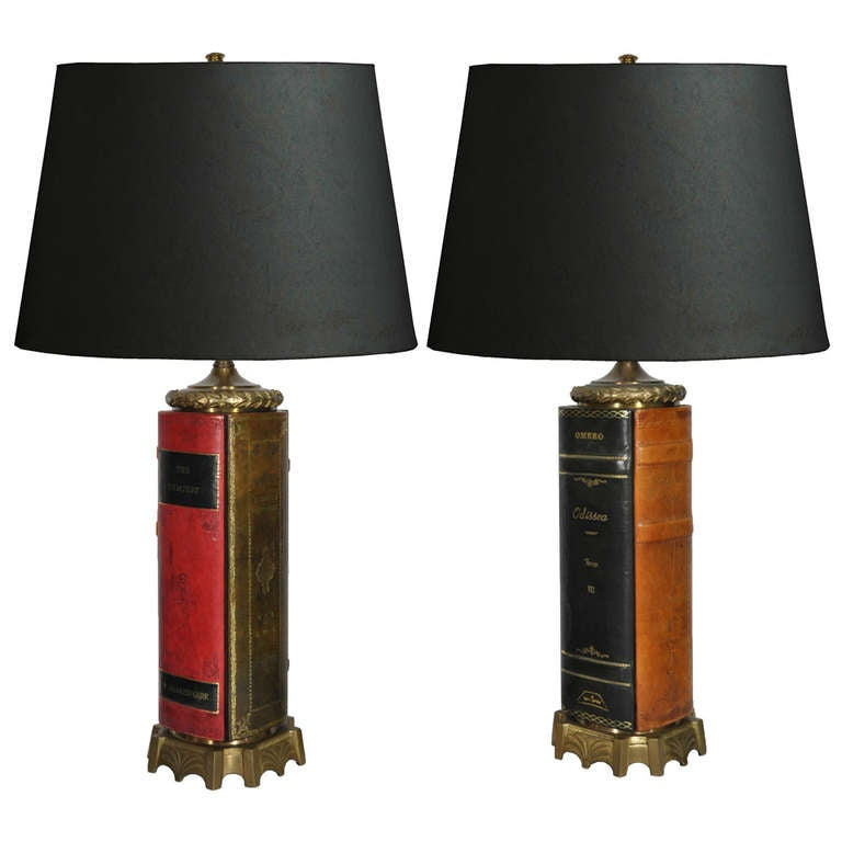 Pair of Vintage English Style Brass and Tooled Leather Bound Book Form Table Lamps