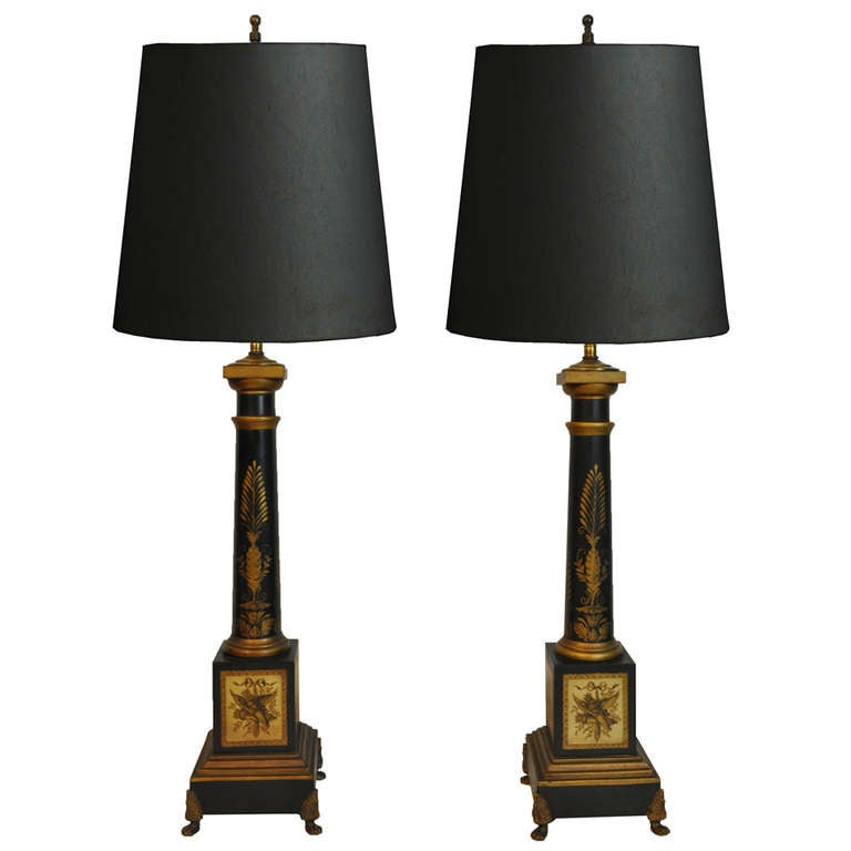 pair of vintage french neoclassical style black and gold tole column form table lamps at 1stdibs. Black Bedroom Furniture Sets. Home Design Ideas