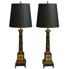 Pair of Vintage French Neoclassical Style Black & Gold Tole Column Form Table Lamps