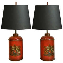 Pair of Vintage Orange Tole & Leather Wrapped English Tea Canister Table Lamps