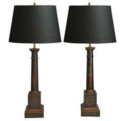 Pair of Vintage French Neoclassical Style Green & Gold Tole Column Form Table Lamps