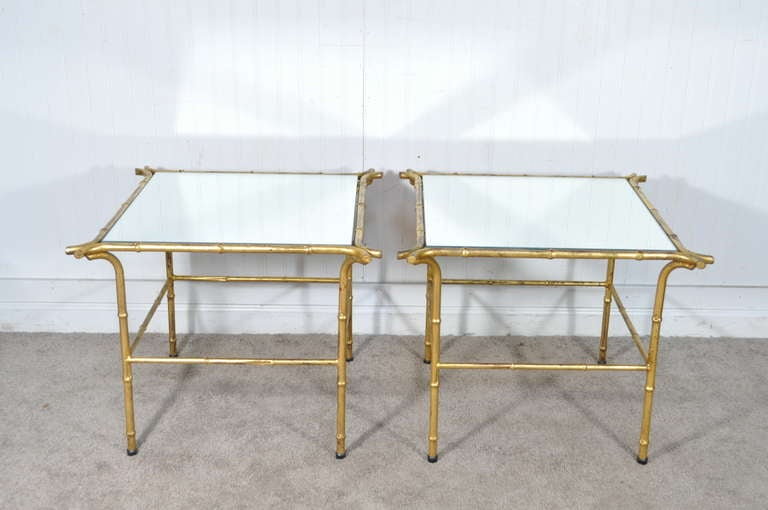 Pair of Italian Hollywood Regency Gold Faux Bamboo and Mirror End Tables Square For Sale 4