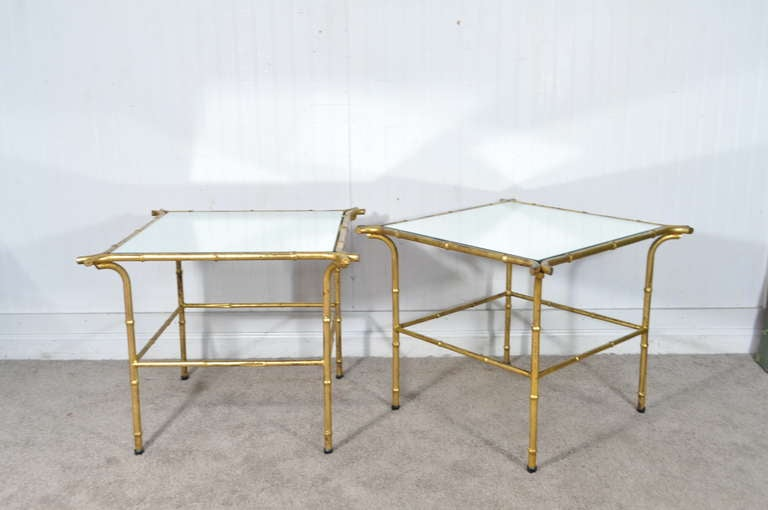 Elegant Pair Of Vintage Italian Gold Gilt Iron Faux Bamboo Side Tables With  Square Mirrored Glass