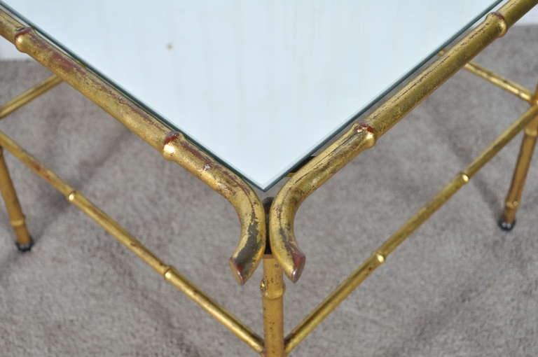 Pair of Italian Hollywood Regency Gold Faux Bamboo and Mirror End Tables Square For Sale 2