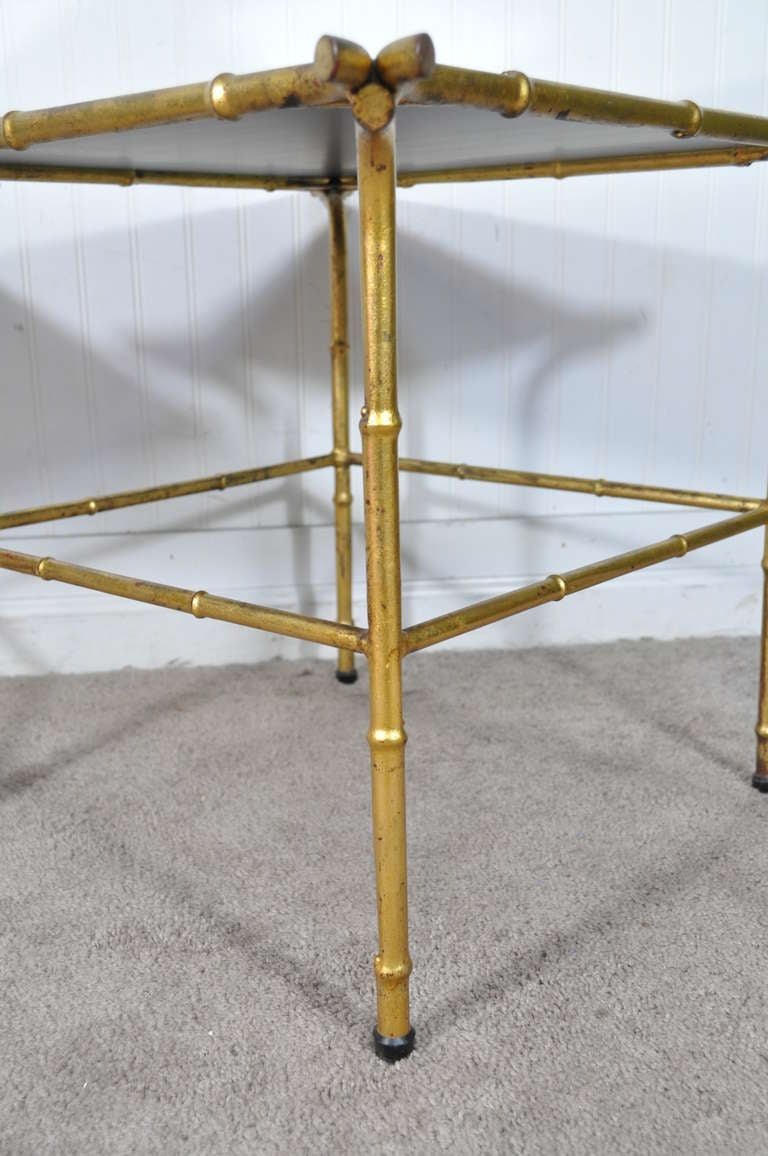 Iron Pair of Italian Hollywood Regency Gold Faux Bamboo and Mirror End Tables Square For Sale