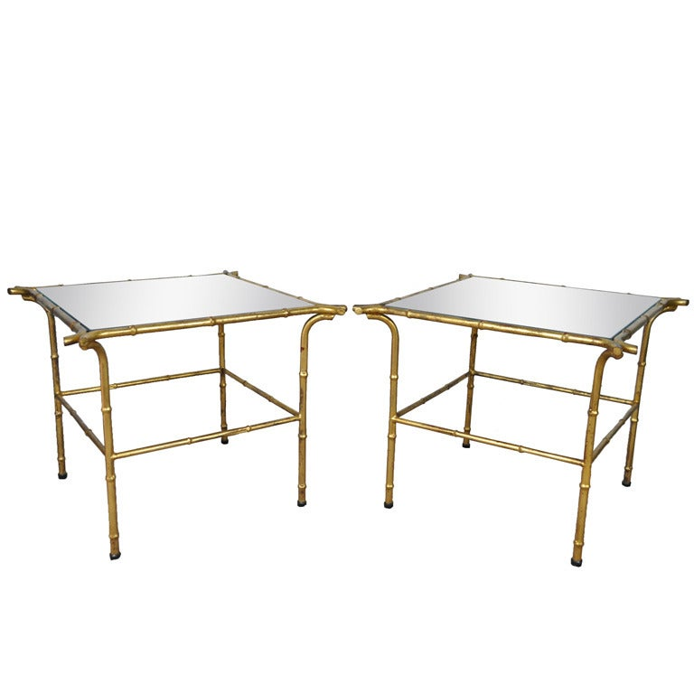 Pair Of Italian Hollywood Regency Gold Faux Bamboo And Mirror End Tables Square