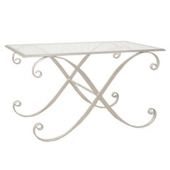 Italian Hollywood Regency Iron X-Frame Rectangular Silver Scrolling Coffee Table