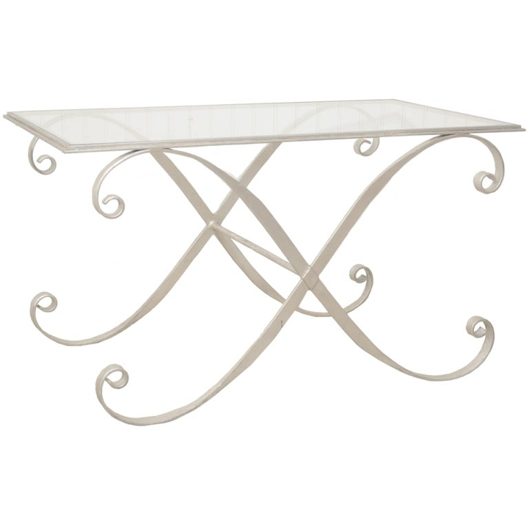 Italian Hollywood Regency Iron X Frame Rectangular Silver Scrolling Coffee  Table For Sale