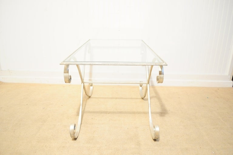 Late 20th Century Italian Hollywood Regency Iron X-Frame Rectangular Silver Scrolling Coffee Table For Sale