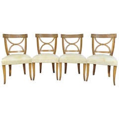 Italian Neoclassical Style Carved Wood Greek Key Saber Leg Dining Chair Set of 4