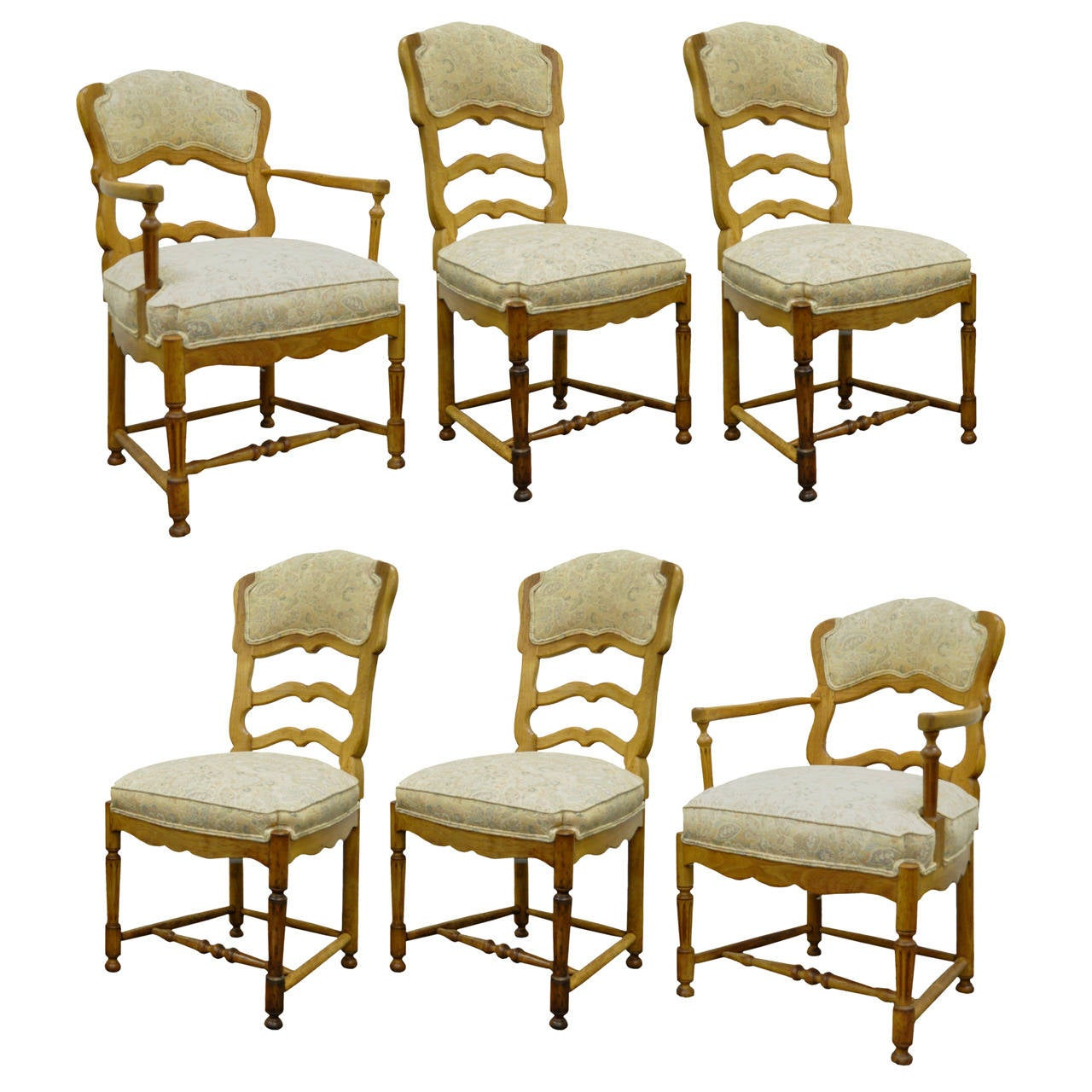 Six French Country Style Carved And Upholstered Ladder Back Dining Chairs At