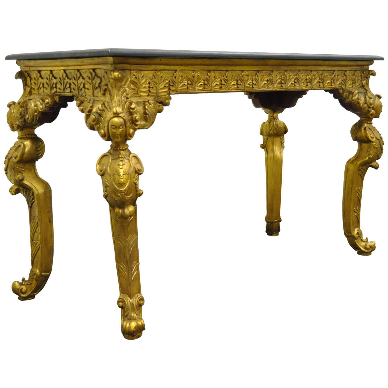 hollywood regency style marble top gold gilt figural console table 1