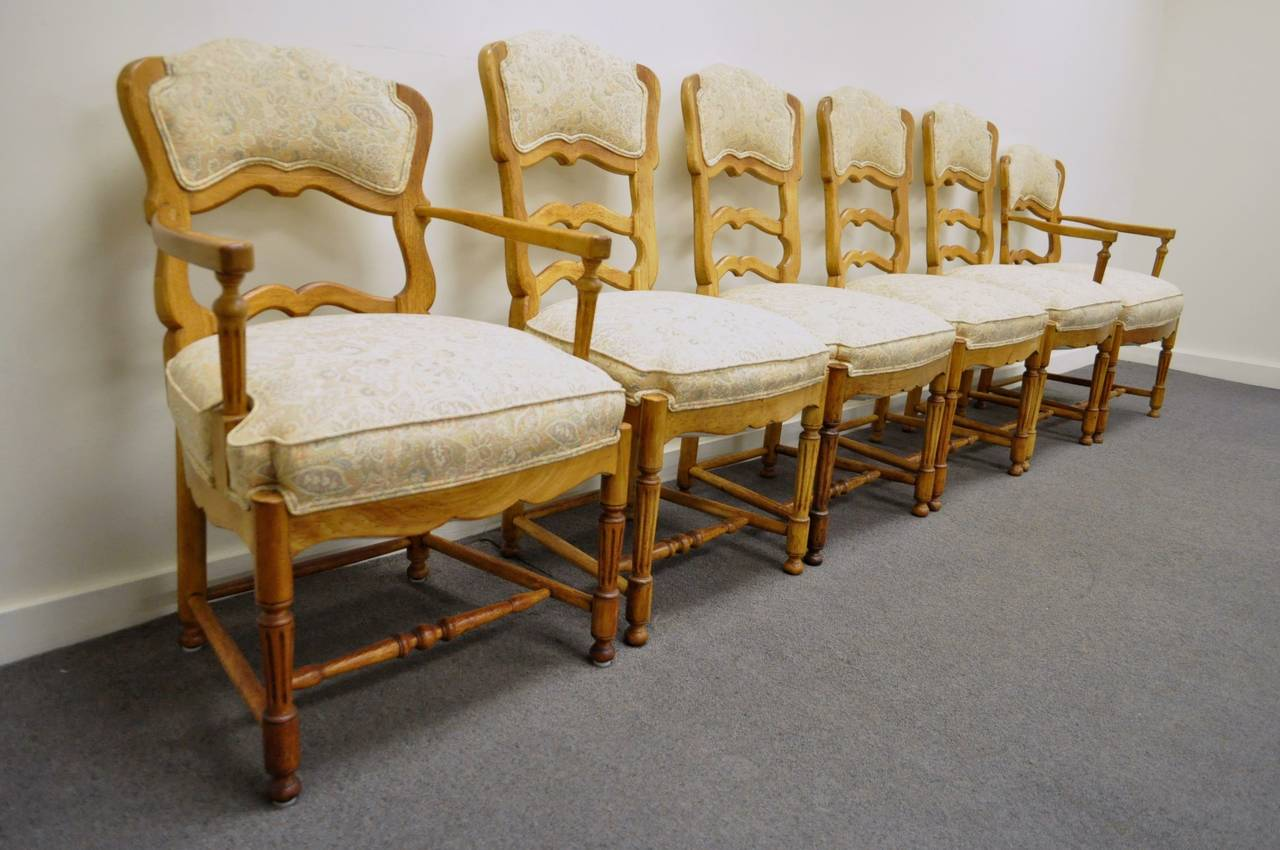 Six French Country Style Carved And Upholstered Ladder Back Dining Chairs 2