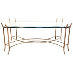Hollywood Regency Iron Faux Bois and Glass French Bagues Style Coffee Table