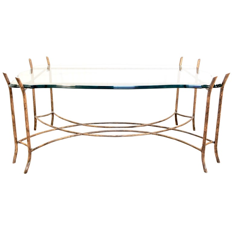 Hollywood regency iron faux bois and glass french bagues for French glass coffee table
