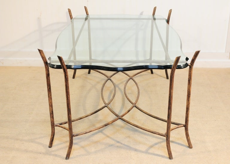 Gilt Iron And Glass X Form Faux Bois Coffee Table In The Bagues Style At 1stdibs